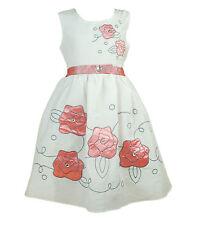 Nuevo Algodón Chica Verano Vestido de fiesta en azul, rosa, Toronja 5A 10 años