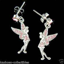 Pink w Swarovski Crystal Tinker Bell Tinkerbell Fairy ANGEL PIXIE Wings Earrings