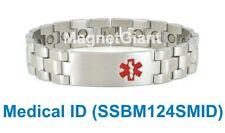 ** Medical ID ** Magnetic Silver Mens stainless steel link bracelet 316