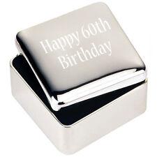 Silver JEWELLERY TRINKET BOX GIFT Happy 60th Birthday