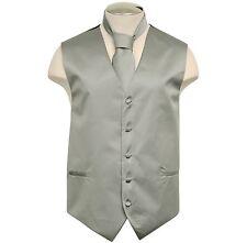 New Formal Men's Polyester Vest tuxedo waistcoat & Necktie Light Gray wedding