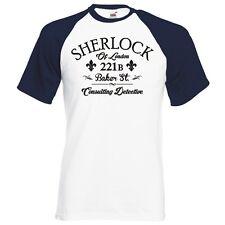 "SHERLOCK HOLMES 221B BAKER ST ""CONSULTING DETECTIVE"" RAGLAN BASEBALL T-SHIRT"
