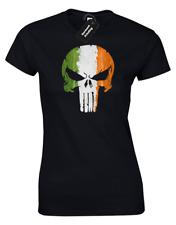 IRELAND FLAG SKULL LADIES T-SHIRT GYM TRAINING TOP IRISH MMA (COL)