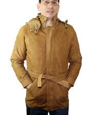 Men's 3/4 Genuine Leather Brown Zipper/Belt Closure Jacket Style 544