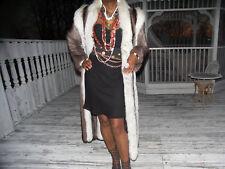 Fab Full length Raccoon &White Fox Fur coat jacket S-M