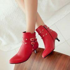 New Women Rivets Pumps Ankle Boots Kitten Heel Pointy Toe Rivets OL Office Shoes
