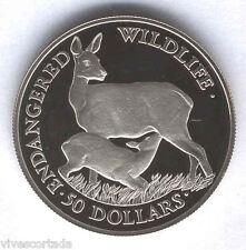 Islas Cook 50 Dolares 1991 plata animales en peligro de extincion @ Ciervo @