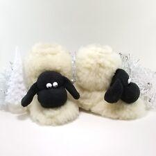 GENUINE SHEEPSKIN  boy slippers grip sole plush WOOL booties birthday gift