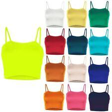 Womens Ladies Plain Camisole Sleeveless Strappy Bandeau Boobtube Bralet Crop Top