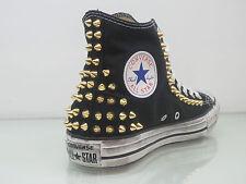 Converse all star Hi borchie scarpe donna uomo nero black artigianali