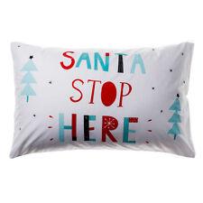 CHRISTMAS PILLOWCASE Santa Stop Here OR Pink/Mint HoHoHo CHOICE XMAS