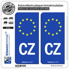 2 Stickers autocollant plaque immatriculation CZ Tchéquie - Identifiant Européen