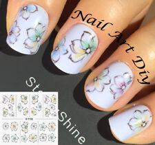 Decorazione Unghie-Nail Art Water Transfer Stickers-Fiori-Bianco-Nero-Manicure