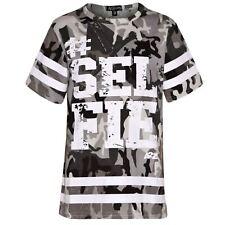 Girls Top Kids Designer's #Selfie Print Camouflage Fashion T Shirt Top 7-13 Yr