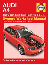 HAYNES MANUAL AUDI A4 2001 TO 2004 (X TO 54 REG) 4-CYL PETROL & DIESEL H4609