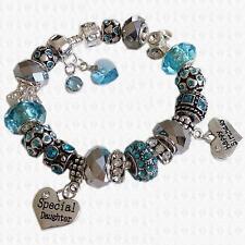 AQUA Swarovski Elements Personalised Ladies Girls Charm Bead Bracelet GIFT BOX