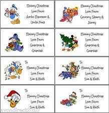21 Personnalisé Disney Noël Etiquettes-Étiquettes-Cadeaux-Stickers - Auto-adhésif