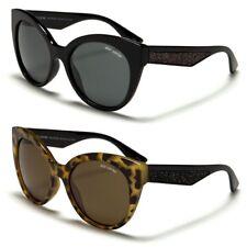 BeOne Polarized Glitter Studded Arms Cat Eye Round Women Sunglasses