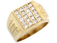 10k Solid Gold CZ Channel Set Unique Fancy Mens Ring