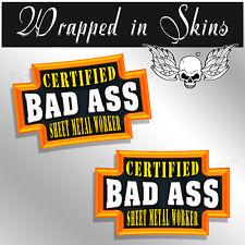 Sheet Metal Worker Certified Bad Ass Hard Hat Decal Funny Helmet Stickers 2 PACK