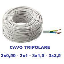 CAVO ELETTRICO TRIPOLARE PVC BIANCO 3G (3x0,50) (3X1) (3x1,5) (3X2,5) DA 1 Mt