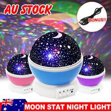 LED Night Light Moon Star Projector Baby Nursery Room Lighting Kids Bedroom Lamp