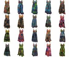 100% COTTON BOHO HIPPIE VINTAGE STYLE V-NECK LAGENLOOK FLORAL SHORT DRESS 41-60