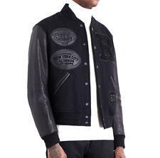 $3,995 Ralph Lauren Purple Label Mens Black New York Wool Leather Varsity Jacket