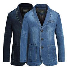 Men's Denim Casual Washed Cotton Slim Fit Sport Coat Suit Blazer Jackets UK S-XL