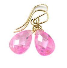 14k Gold Cubic Zirconia Earrings Sim Pink Sapphire CZ Pear Dainty Sterling Drop