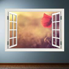 Blumen Fensterrahmen volle Farbe Wandkunst STICKER Abziehbild