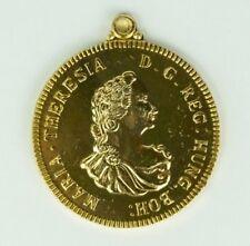 Vintage Maria Theresia Light Gold Coin Pendant - Aluminium