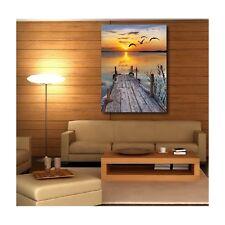 Tableaux toile déco rectangle verticale ponton Coucher de soleil 89980225