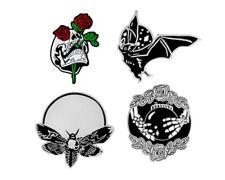 Retro Punk Creative Bat Bee Rose Poke Hand with Crystal Ball Skull Pin Brooch