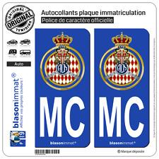 2 Autocollants plaque immatriculation : MC Automobile Club de Monaco Blason