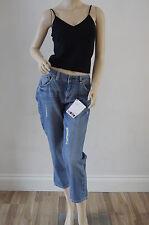 TOPSHOP MOTO Stone Washed Denim Crop Frayed Jeans Size 10 W28 14 W32 £35 NEW LB
