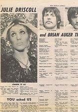 JULIE DRISCOLL / BRIAN AUGER press clipping 1968 (29/6/1968)