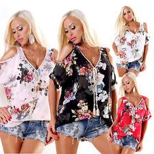 Blusa tunica donna maglia maglietta floreale apertura goccia spalle sexy nuova