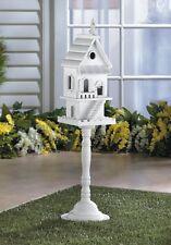 shabby white Victorian free standing pole pedestal Bird feeder house birdhouse