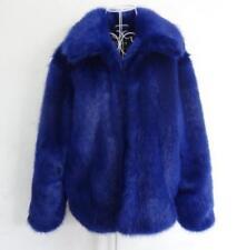 Mens Blue Faux Fur Coat Warm Lapel Large Thicken Outwear Winter Peacoat S-5XL