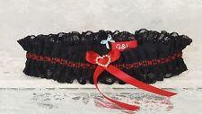 Personalised Black and Red Handmade Bridal Wedding Garter