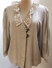 Trachtenbluse-Damen-Musterteil, ohne Marke und Materialetikett, Leinen/Baumwolle