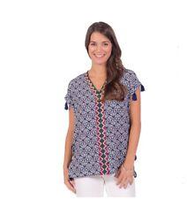 Escapada Ladies Short Sleeve Navy Embroidered Joana Tunic Ladies Top-S,M,L