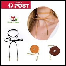 Choker Black Brown Cord String Faux Suede Wrap Around Tie Ribbon Necklace Retro