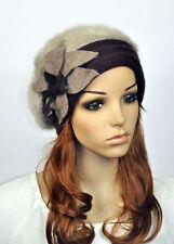 Cute Flower Wool & Rabbit Fur Fashion Lady Women's Dress Hat Beanie Cap 5-Colors