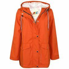 Kids Girls Boys PU Raincoat Jacket Orange Hooded Waterproof Rainmac Cagoule 5-13