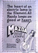 Original 1926 'MAZDA' Gas-Filled Electric Light Bulbs ADVERT - Small Print Ad