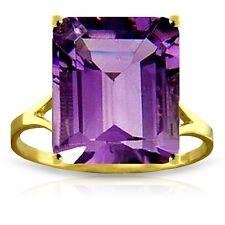 Genuine Amethyst Emerald Cut Gemstone Solitaire Ring 14K. Yellow White Rose Gold