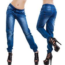 Jeans donna pantaloni denim boyfriend elastici coulisse casual cotone LE-2485