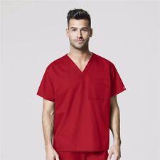 Wonderwink Medical Scrubs Men's Red Wonder Work Stretch Top Sz S-XXL NWT